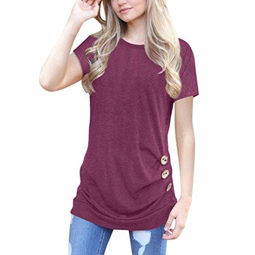 2 Pack Nachthemd (ZIYOU Damen Beiläufig Oberteile, Mode Bluse Frauen Tops Kurzarm O-Ausschnitt Pullover Weich Loose Sweatshirts Frühling Sommer (Weinrot, 2XL))