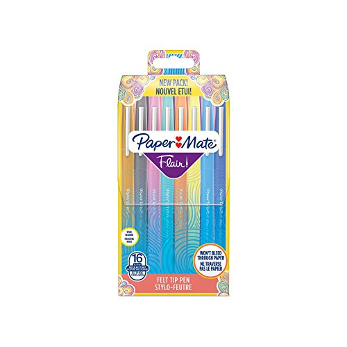 Paper Mate S0977450 Lot de 16 Feutres à Pointe Nylon Flair Pointe Moyenne, Coloris Assortis