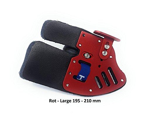 ases Archery Bogenschießen Fingertab aus Leder mit Ankerplatte, Rechtshand Einstellbare Fingerschutz (Large-Rot)