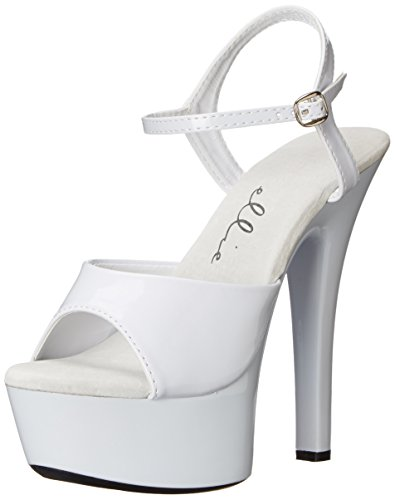 Ellie Shoes Women's 601 Juliet Platform Sandal, White, 7 M US