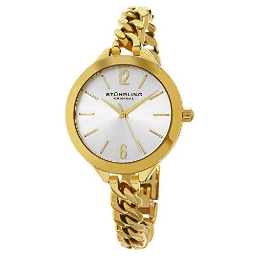 Stuhrling Original - Vogue - 624M.02 - Montre bracelet - Quartz - Affichage - Analogique - Bracelet - Acier Inoxydable - Or - Cadran - Argent - Femme