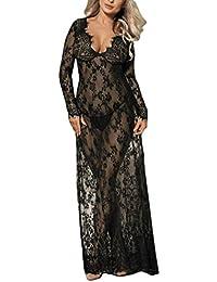 3953ebd724b152 Damen Satin Nachthemd Negliee, Rosennie Sexy Frauen Nightgown Nachtwäsche  Sleepshirt Schlafanzug Ladies Lang Spitze Schwarze