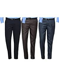 Mark Pollo Cotton Rich Fabric Regular Fit Formal Trousers For Men (Pack Of 3) Blue, Brown, Dark Grey