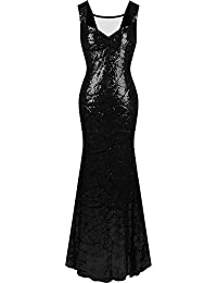 Angel-fashions mujeres Queen Anne escote lentejuelas Sirena Largo Vestido de fiesta