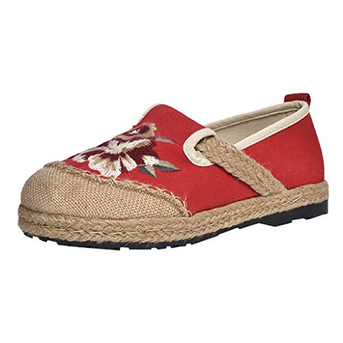 LILIGOD Frauen Stoff Schuhe National Thick Bottom Flat Student Stroh Casual Single Schuhe Damen Bestickte Schuhe Beiläufige alte Peking-Einzelne Schuhe Frühling und Herbst Faule Schuhe -