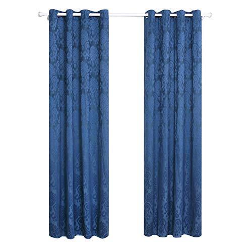 By-gg High-End Vorhänge für Wohnzimmer Schlafzimmer 2Pcs Barriere Polyester-Jacquard-Stoff hohen Schatten (70% -90%) perforierten Vorhang blau,135X240cm - Datenschutz-boden-bildschirm