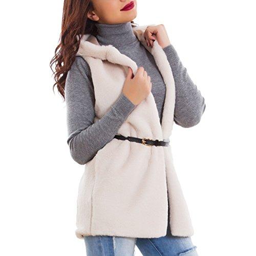 Toocool - Giacca donna ecopelliccia cappuccio gilet inverno giubbino caldo nuovo AS-0895 Beige