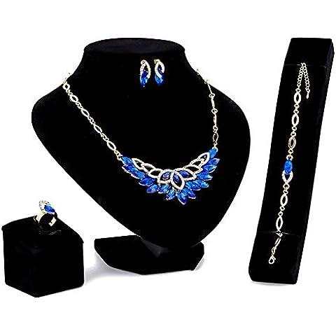 Abbigliamento moda gioielli Collane Bracciali Anelli Orecchini di quattro , w054-1 sapphire