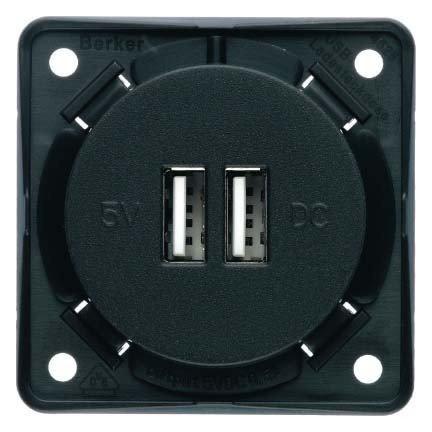 HAGER - TOMA CARGA USB 230V ANTRACITA MATE