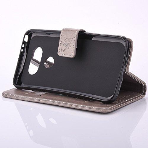 iPhone 6 Plus Custodia, iPhone 6 Plus Cover,Cozy Hut® Elegante Borsa in Pelle Custodia Case Cover Protezione Chiusura Ventosa, Fiore di farfalla Design Case farfalla Pattern - Custodia in pelle con su grigio