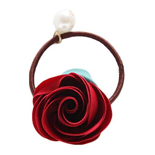 3pcs rote Pferdeschwanz-Halter-Elastik-Rosen-Knospe-Mädchen empfindliche Haar-Krawatten (Leder-pferdeschwanz-halter)