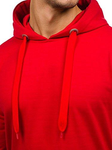 BOLF Herren Kapuzenpullover Sweatshirt Langarmshirt Pulli Hoodie Basic 1A1 Rot_7038