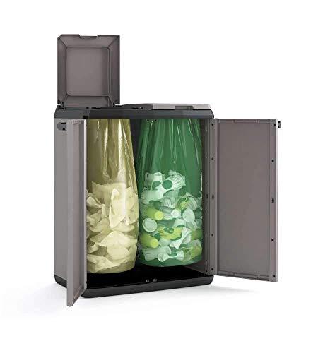 KIS einfacher geteilter Schrank zur Mülltrennung, grau, 80x 40x 19.5