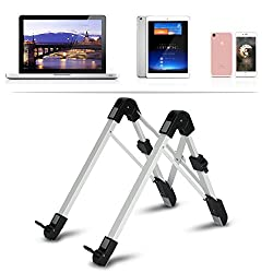 Megainvo Laptop Stand Adjustable Tablet Ipad Stand Ergonomic Folding Laptop Stand Holder Aluminum Silver