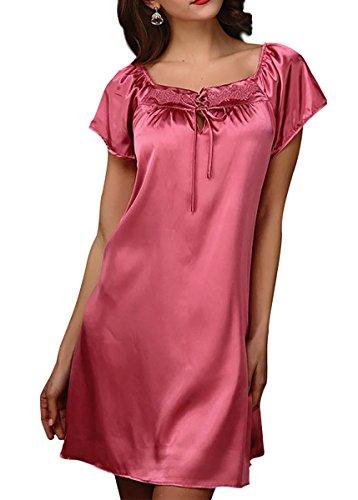 Aivtalk Femme Elégant Robe/Chemise de Nuit à Manches Courtes en Satin Peignoir de Bain Nuisette Pyjama Vêtement de Nuit Printemps Eté Automne Champagne Rouge Cair