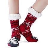AIDEAONE Frauen Weihnachtssocken Fleece gefüttert klobige Indoor Home Socken