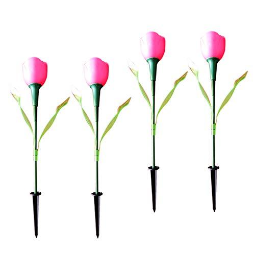 P Prettyia 4pcs Solarlampe Gartenleuchte Kunstblumen Tulip Laterne Licht Garten Terrasse Lampe - Rosa