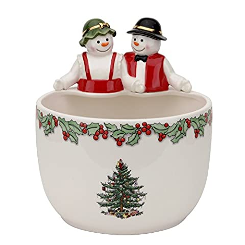 Spode Christmas Tree Mr. & Mrs. Snowman Candy Bowl By Spode