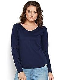 The Dry State Women's Cotton Stylish V Neck Navy Blue Full Sleeves Tshirt