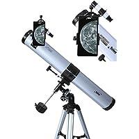 Seben Telescopio Reflector de 900-76 EQ2 + Smartphone Adaptador DKA5