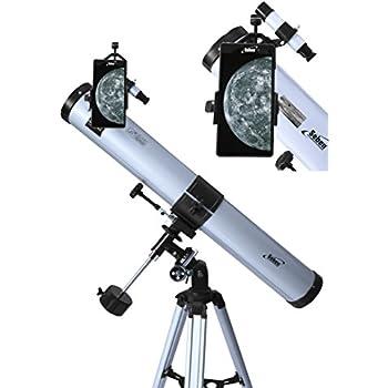 Seben Télescope réflecteur 900-76 EQ2 + adaptateur smartphone portable Digiscoping Adapter DKA5