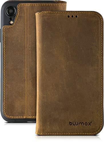 Blumax Leder Flip Case Echt Ledertasche Tasche Hülle für iPhone XR mit Kartenfach - kabelloses Laden Qi möglich - Tasche antik-Dunkelbraun Premium Design