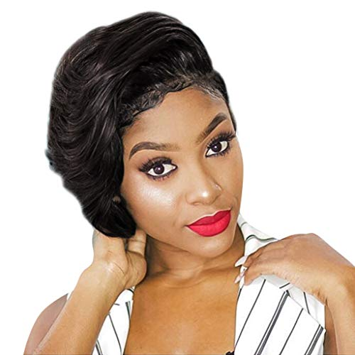 Vintage Hollywood Style Pure Black Short Size Wig Synthetic Curl Hair Wavy Wigs Afro Curly Fiber Wig For Women Girls Lady