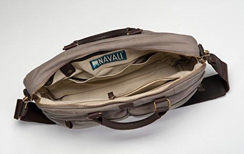 Navali Gunner - Robuste Aktentasche Laptoptasche Umhängetasche für Arbeit, College, Studium - Canvas Segeltuch - Steingrau Steingrau