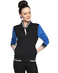Campus Sutra Womens Black Varsity Jacket