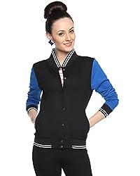 Camus Sutra Womens Black Varsity Jacket (AW15_HVAR_W_PLN_BLRB_XL)