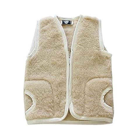 Kinderweste Baby Weste 100% Merino Wolle Schafswolle beige Gr. 3 - 5 Jahre
