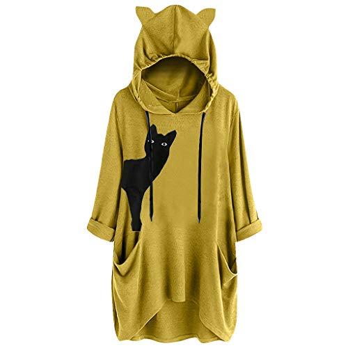 SANNYSIS Damen Pullover Kapuzenpullover mit Katzen Tasche Katze Sweatshirt Pulli Hoodie Kapuze Katzenpulli Beutel Langarm Herbst Winter große größen Longpullover (3XL, Gelb) - Peep-toe-taste
