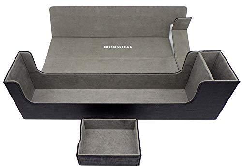 docsmagic.de Premium Magnetic Tray Long Box Black Large - Card Deck Storage - Kartenbox Aufbewahrung Transport Schwarz -