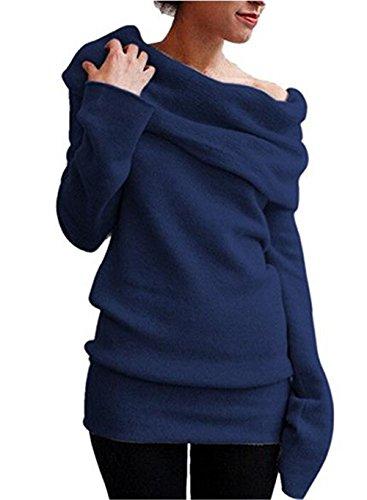 Hippolo Femme Printemps Automne longues Pull, Shoulder-free Pull M noir bleu