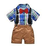 TWIFER été Cravate à Carreaux avec nœud pour Gentleman Hauts et Shorts Salopettes Tenues pour Tout-Petit bébé garçon