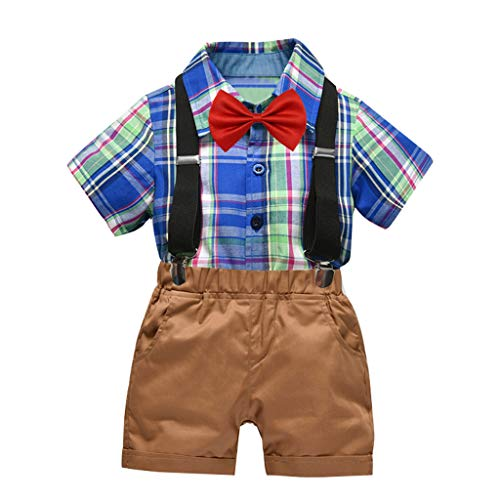 sunnymi  ® 0-5 Jahre Baby Jungen Gentleman Bow Plaid Tie T-Shirt Tops + Shorts Overalls Outfits