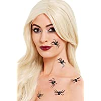Smiffys 50817 Make-Up FX, 3D Spider Stickers, Unisex Adult, Black