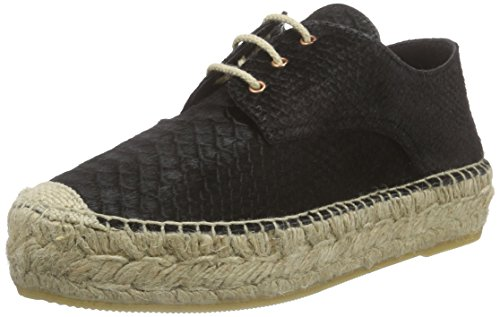 Fred de la BretoniereFred woman espadrille flat lace up shoe double rope Natural 10 sole Blanes - Espadrillas Donna , Nero (Nero (nero)), 38