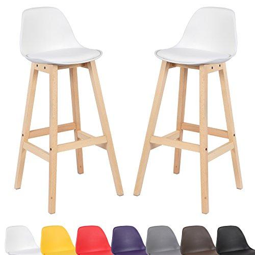 WOLTU® 2er Set Barhocker BH44ws-2-c 2 x Barstuhl mit Lehne Küchenstuhl aus Holz und Kunststoff Weiss