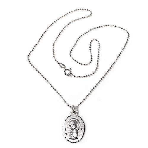 Colgante Plata Ley 925M Virgen Niña 24mm. Medalla Ovalada Cadena 45cm. Bolitas Lisa Cierre Reasa - Personalizable - Grabación Incluida En El Precio