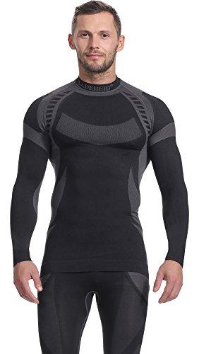 Ladeheid Herren Funktionsunterwäsche Langarm Shirt Thermoaktiv (Schwarz/Grau, L)