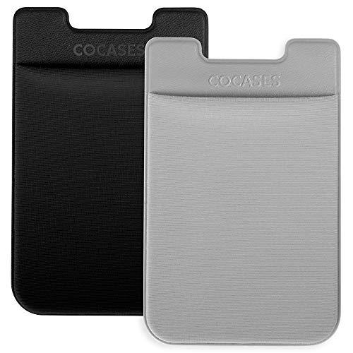 2er Handy Kartenhalter, Klebende Lycra Smartphone Kartenfach Kartenhalterung Smart Wallet Kartenhülle Kartenetui (Schwarz-Grau)