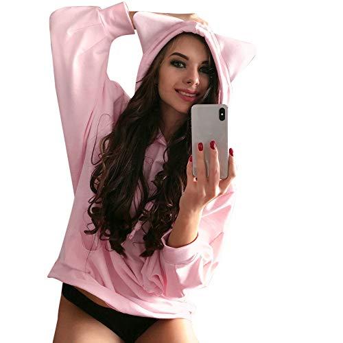 JKLEUTRW Damen Casual Lady Katze Langarm Hoodie Sweatshirt Fashion Kapuze Lockerer Komfort Pullover Bluse Herbst- und Winterbluse Warmer Pullover Sweatshirt -