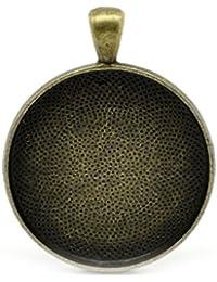 Housweety 5 Pendentifs Support Cabochon Rond Couleur Bronze 4.1cm x 3.3cm