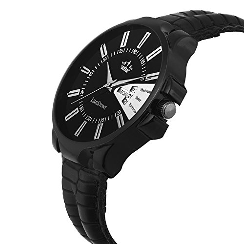 Limestone Finity Series with Day & Date Analogue Black Dial Boys And Mens Watch-LS2655