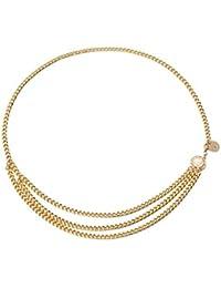 c30088148d7d91 Frecoccialo Damen Kleid Gürtel Vintage Gold/Silber Metall Quaste Körper Taille  Kettengürtel Kleid Dekoration