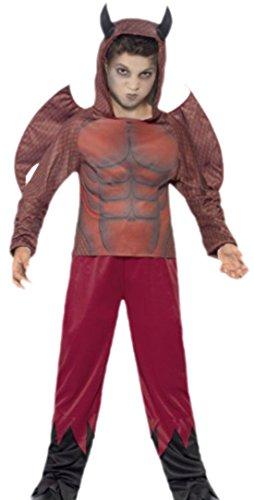 erdbeerloft - Jungen Teufel Kostüm, Halloween, Karneval, 116/122, Rot