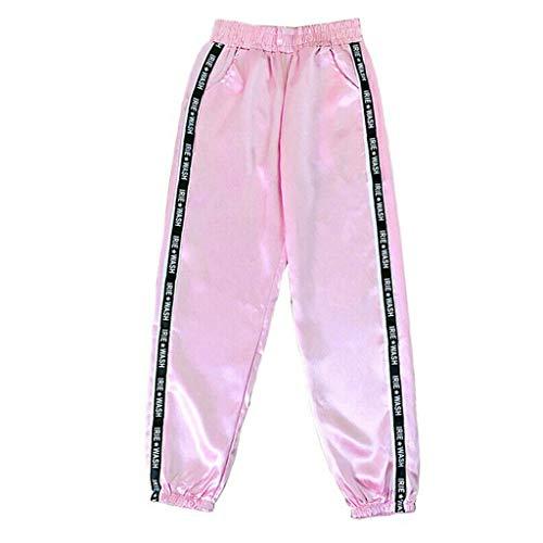 Setsail Damen Mode Bequeme Hose Brief Tasche elastische Taille reflektierende Sport Band Hosen Hosen -