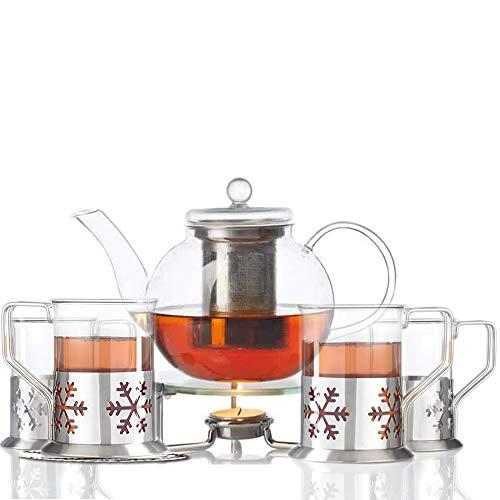 Leonardo Set Tee Limito 6 tgl. / 1 Teekanne + 4 Teegläser + Stövchen + 4 Dekokaufhaus Untersetzer