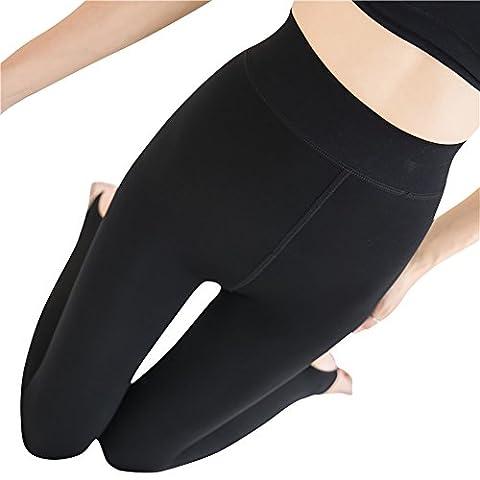 Leggings Collant en Laine Triplure Doux Haute Taille Leggings Elastiques Hiver Chaud Leggings Noir OneSize